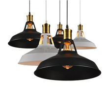 Vintage Black/White Industrial Wind E27 Pendant light Nordic iron lampshade Pendant lamp For dining room Countryside Hotel Bar стоимость