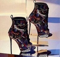 Gullick открытый носок Модные ботильоны настоящая фотография низкая цена высокое качество размер 10 Кружево-Up Высокие каблуки Красочные Криста...