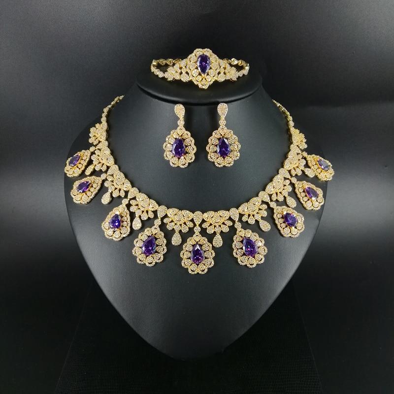 2019 nouvelle mode luruxy violet CZ zircon collier boucle d'oreille bracelet anneau bijoux ensemble mariage mariée banquet dressing bijoux ensemble