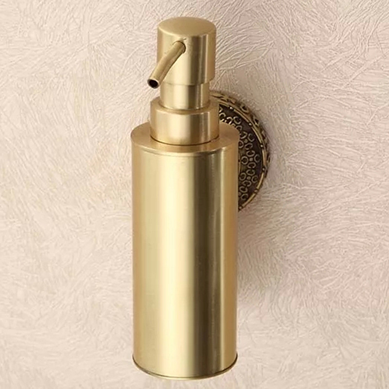 Liquid Soap Dispensers Antique Brass Wall Mounted Shampoo Soap Dispenser Liquid Soap Holder Bathroom Accessories uythner square brushed nickel soap dispenser liquid shampoo soap bottle bathroom accessories wall mounted 1000ml