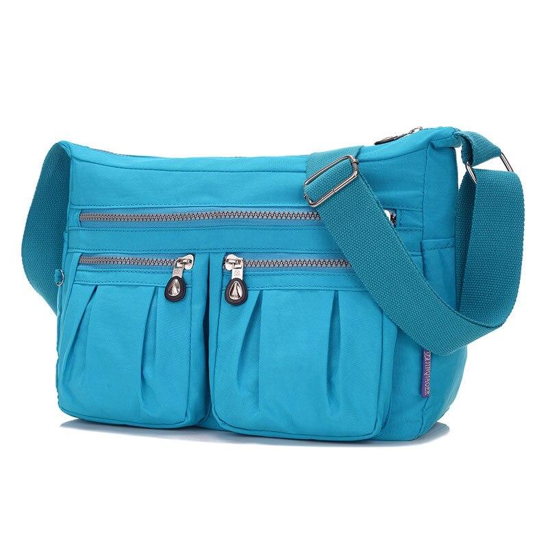 JINQIAOER Original Brand Waterproof Nylon Women Messenger Bags Shoulder Bag Ruched Fashion Straps Feminine Travel Beach Hobo Bag