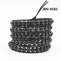 Unieke 5 Gelaagde Natuurlijke obsidiaan Kralen Lederen Wrap Armband Groothandel Punk Koppels Armbanden dropshipping JBN-9583