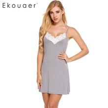 Ekouaer бренд тонкий Ночная рубашка летние женские ремень v-образным вырезом ночное Кружева Лоскутная сорочка Мини пижамы Домашняя одежда