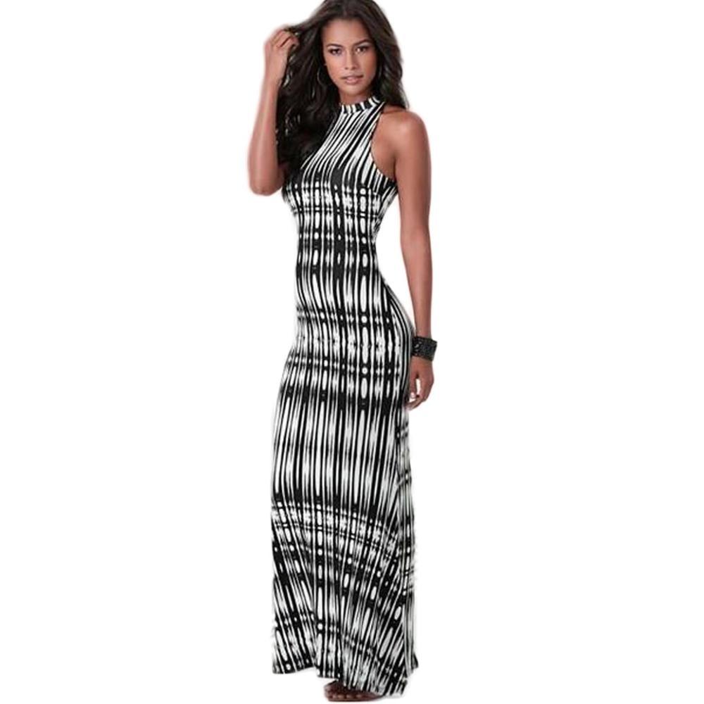 d456f17496 JRRY Largo Vestidos de Cuello Alto Bodycon Backless Mujeres Rayas Vestido  Maxi Casual Beach Dress Vestidos en Vestidos de La ropa de las mujeres en  ...