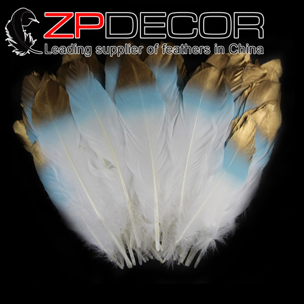ZPDECOR 10~20cm(4-8inch) 100pieces/lot Handpicked Light blue& Gold Metallic Satinette Feathers Black for Showgirl Costumes