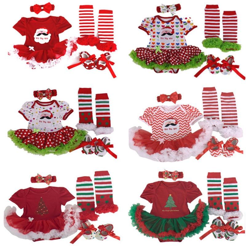 2016 Christmas Baby girl clothes Newborn baby Romper Tutu dress+headband+shoes+leg warmers 4pcs/sets Infant Baby girl clothing