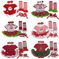 2016 christmas baby girl roupas romper bebê recém-nascido tutu dress + headband + sapatos + polainas 4 pçs/sets infantil roupas de bebê menina