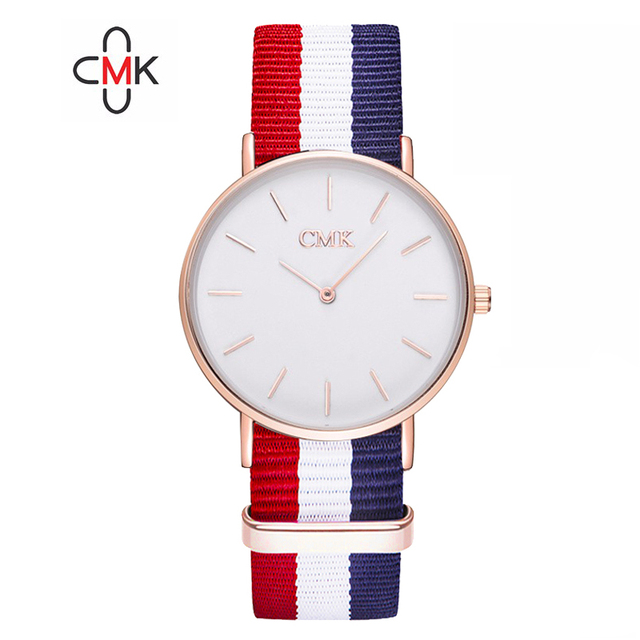 2018 Brand Clock Woven strap sports watches Metal button women's watch Casual Couple Various styles 18 color Quartz Wristwatches 3