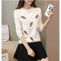 Rugod Korean Knitted Pullover Sweater Women Leaves Embroidery Soft Sweater Pull Femme 2017 Autumn Winter Warm