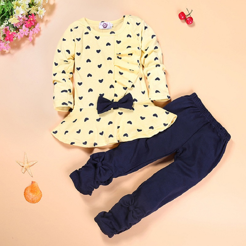 2016 New Girls Clothing Sets Autumn Lotus Leaf Skirt Bowknot Girls Clothes 2pcs Cotton Long Sleeve Shirt+Pants kids clothing