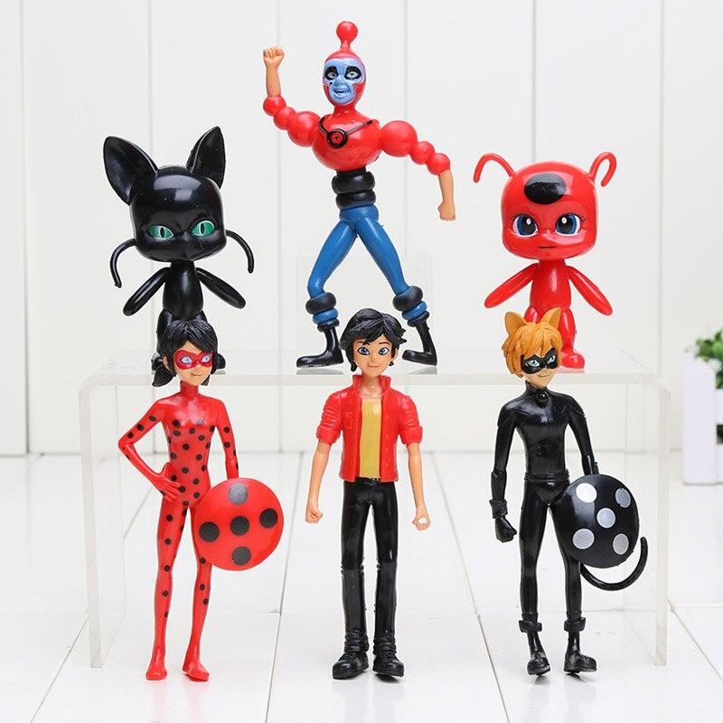 Ladybug 6pcs/lot Miraculous Comic Ladybug Girl Doll Box Action Figure Toys Cute Vinyl Anime Toys for Children Birthday Gifts
