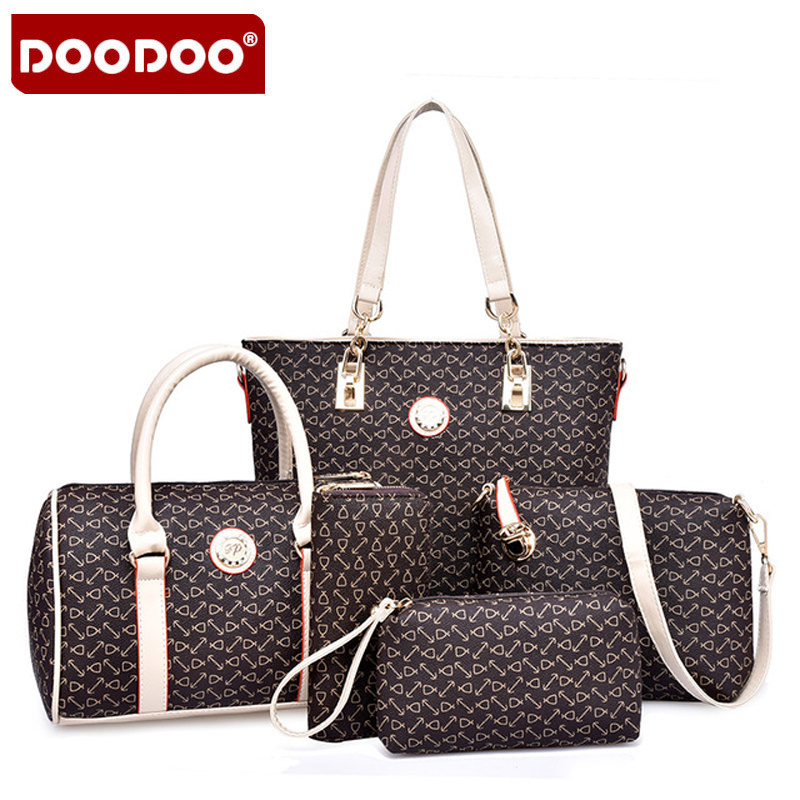 DOODOO 2017 New Women Handbags Buy One Get Five High Quality PU Leather Fashion Sweet Ladies Shoulder Bags Seven Colors Set Bag