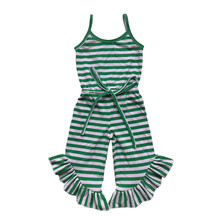 edec07bbe6a9 Newest Baby Girls Jumpsuit Summer Green Red Black Stripe Ruffle Pant Girls  Romper Toddler one Piece