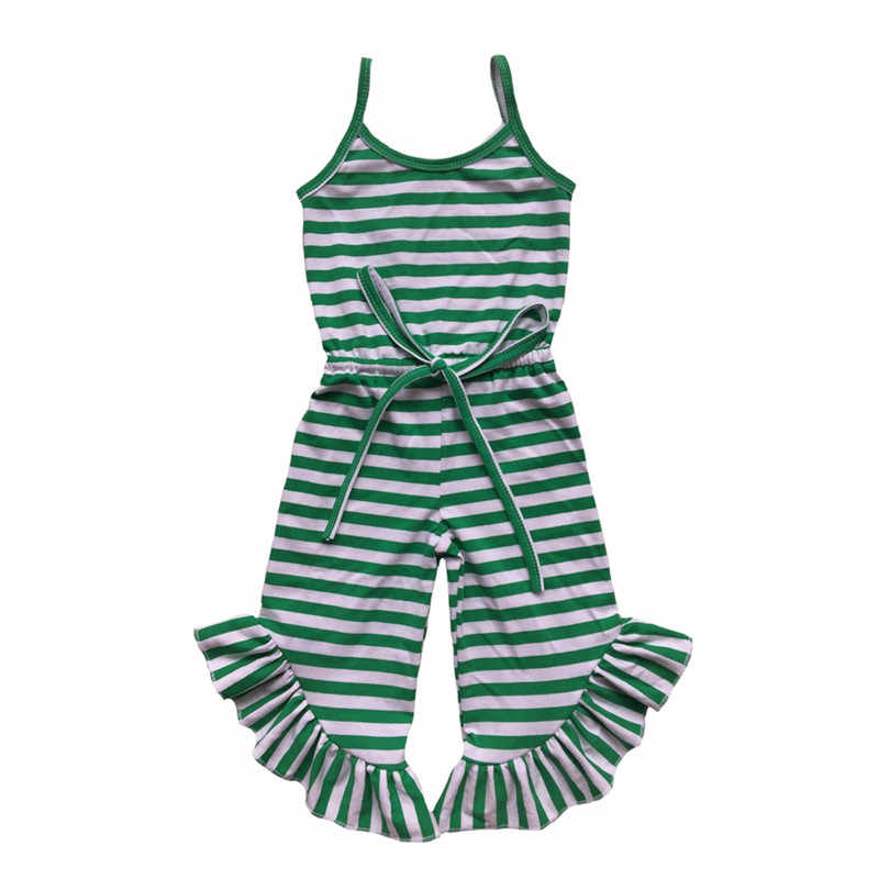 5d21ee3382e7 Detail Feedback Questions about Newest Baby Girls Jumpsuit Summer Green Red  Black Stripe Ruffle Pant Girls Romper Toddler one Piece Outfit 1 6T on ...