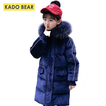 Girls Hooded Snowsuit Kids Winter Down Coat Fur Collar Thick Gold Velvet Jackets Baby Girl Warm Clothes 2018 Children Outerwear