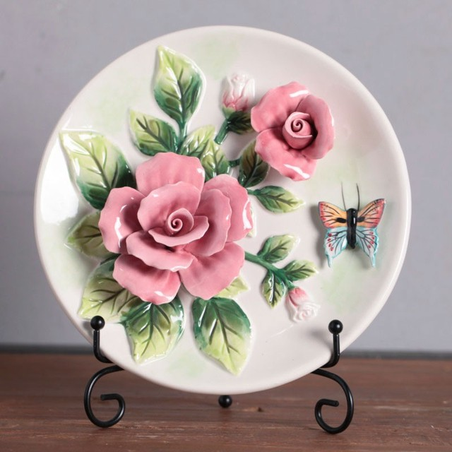 Ceramic arts Red roses butterfly decorative wall dishes porcelain decorative plates vintage home decro crafts room & Ceramic arts Red roses butterfly decorative wall dishes porcelain ...