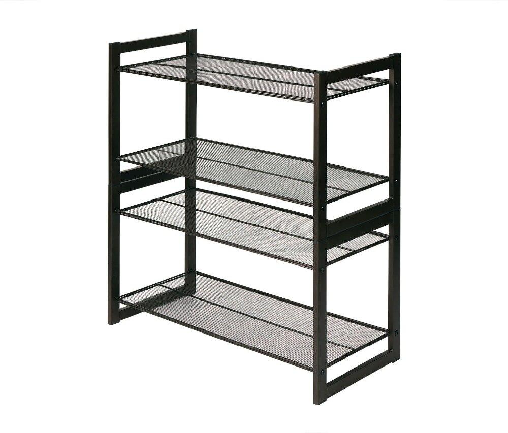 HLC Premium Stackable 4-shelf Multi Purpose Closet Organizer Brown Metal Mesh Utility Shoe Rack Christmas Gift