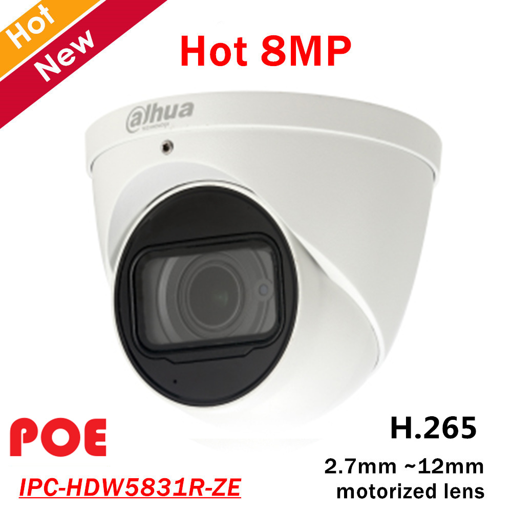 8mp Dahua POE IP Camera IPC HDW5831R ZE 2 7mm 12mm motorized lens Built in Mic