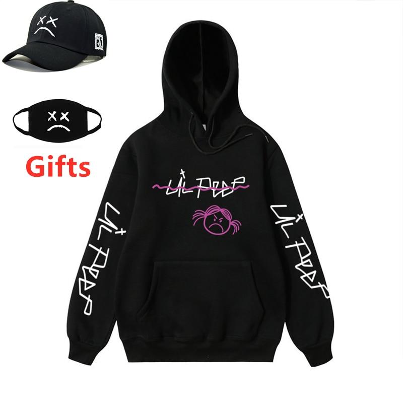 Cap&Mask As Gifts Lil Peep Hoodies Men Women Sad Face Sweatshirts Boy Girl Hip Hop Rapper DJ Hooded Jacket Coat Tracksuits