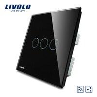 Free Shipping Black Pearl Crystal Glass Panel VL C303SR 62 220V Wireless Intermediate Remote Control Home