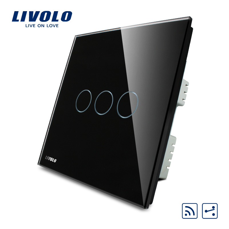 Livolo Smart Control Switch, Black Pearl Crystal Glass Panel,AC 220-250 VL-C303SR-62, Wireless 2 Way Remote Home Light UK Switch цена 2016