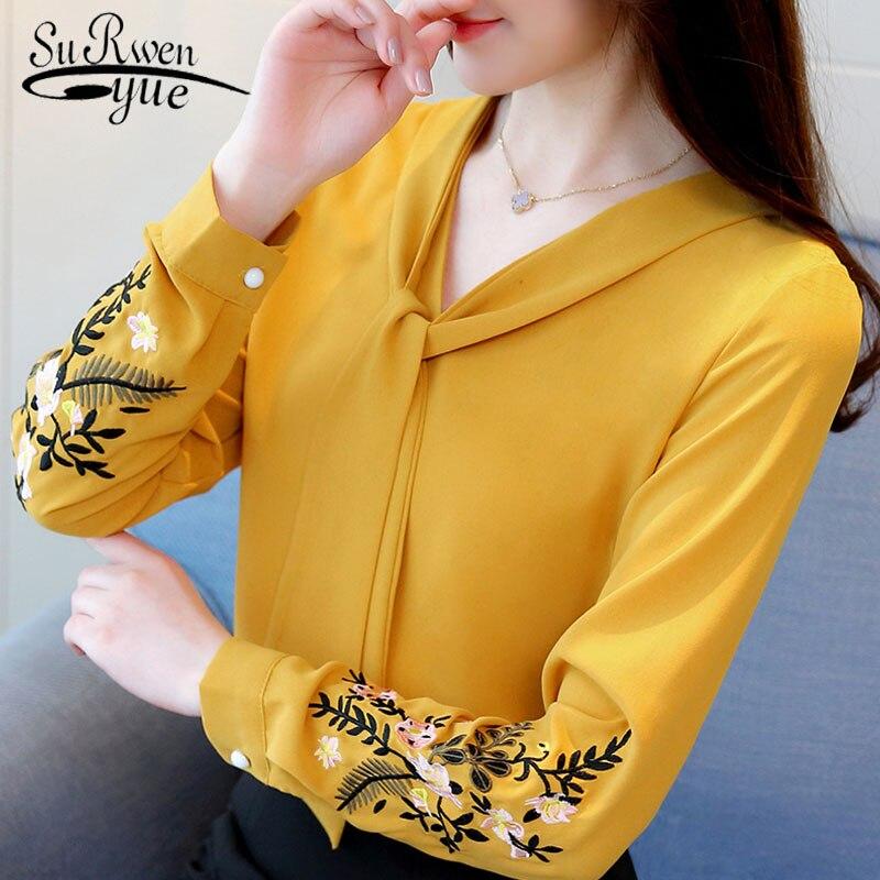 Blouse Overhemd.Lange Mouwen Chiffon Vrouwen Blouse Overhemd Mode Vrouw Blouses 2019