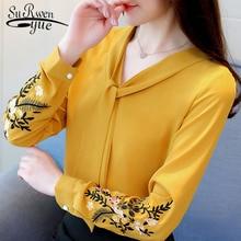 Long sleeve chiffon women blouse shirt fashion woman blouses 2019 office