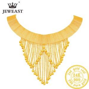 JLZB 24K czystego złota naszyjnik prawdziwe AU 999 czyste złoto łańcuch piękne ekskluzywne Trendy klasyczne Party Fine Jewelry Hot sprzedam nowy 2020