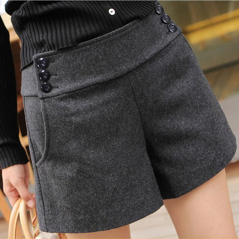 Fashion 2018 Women Plus Size Woolen Shorts Autumn Winter High Waist Wide Leg Shorts Casual Boot