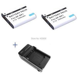 Image 1 - Bán buôn 1000 mAh 2 pcs NP BK1 BK1 Li Ion máy ảnh kỹ thuật số pin + Sạc Cho Sony Cyber shot Dsc DSC S950 S980 DSC S750 S780
