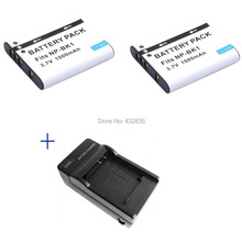 En gros 1000 mAh 2 pièces NP BK1 BK1 Li ion appareil photo numérique batterie + chargeur pour Sony cyber shot DSC S950 S980 DSC S750 S780