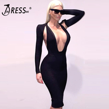 INDRESSME Free Shipping 2016 New arrvial sexy bodycon backless dress deep v neck long sleeve women bandage dress