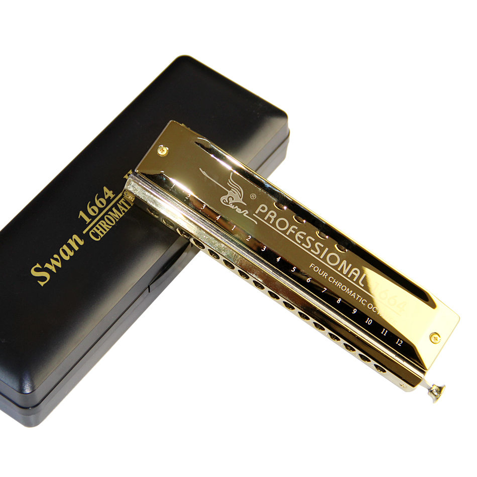 Swan 16 hole 64 tone Chromatic Harmonica, Golden, Laser Print Envío - Instrumentos musicales - foto 2