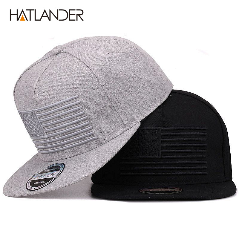 [HATLANDER] Raised flag embroidery cool flat bill baseball cap mens gorras snapbacks 3D flag hat ourdoor hip hop snapback caps