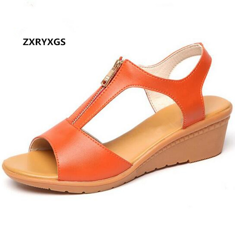 Soft Comfortable Women Summer Sandals 2019 New Plus Size Summer Women Sandals Genuine Leather Shoes Non