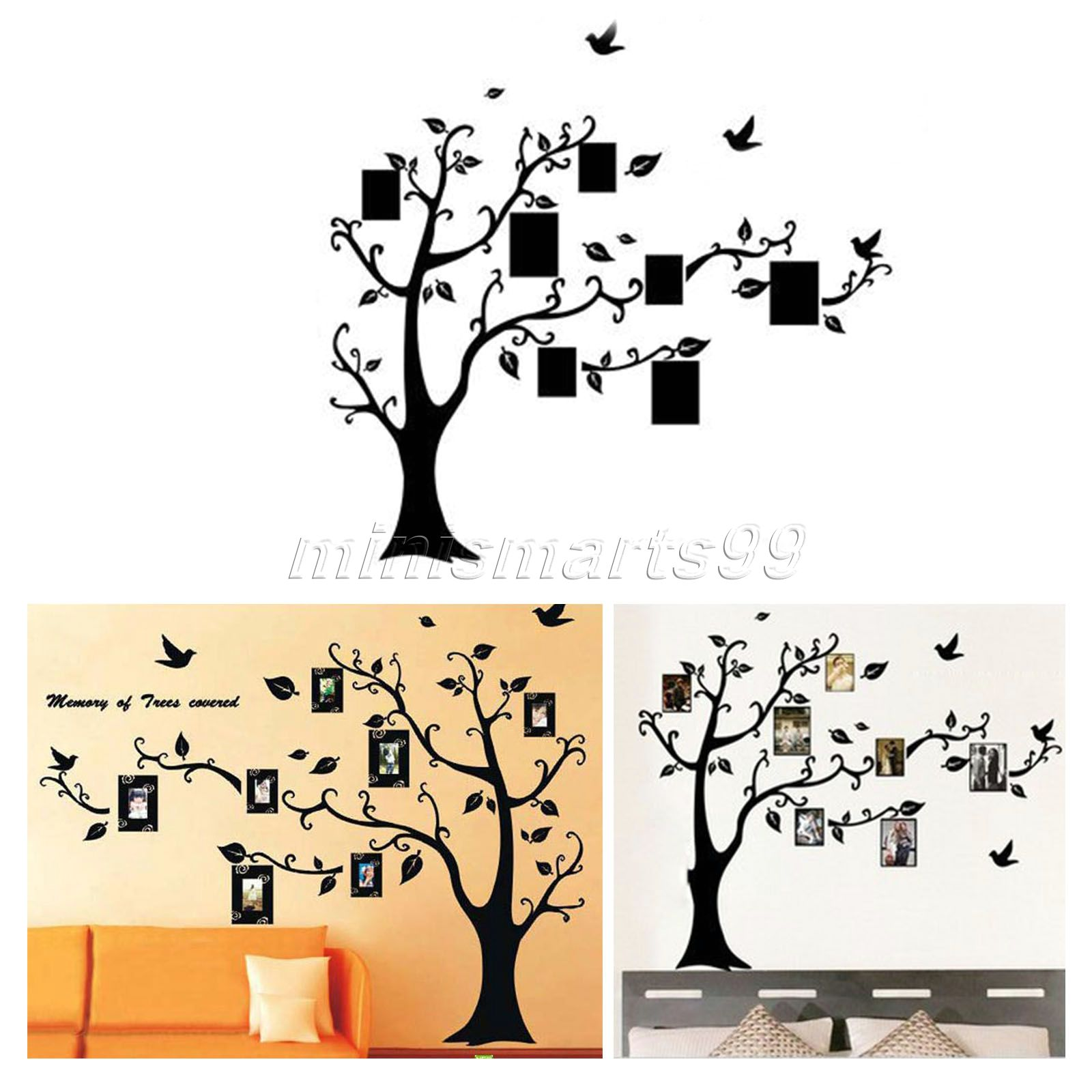 dophee 115*142cm Black 3D DIY Photo Tree PVC Wall Decals Adhesive Family Wall Stickers Mural Art Home Decor
