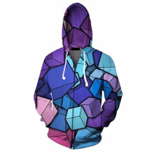 2019 Men 3D Hoodies Zip Up Color Cubes Print Casual Streetwear Hoody Sweatshirts Unisex Fashion Zipper Jacket Outwear Top 5XL