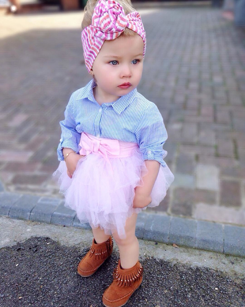 Summer time New child Child Lady Garments T-shirt High Striped Lace Tutu Skirt Bow 2pcs Outfits Bebek Giyim Toddler Children Clothes Set Clothes Units, Low-cost Clothes Units, Summer time...