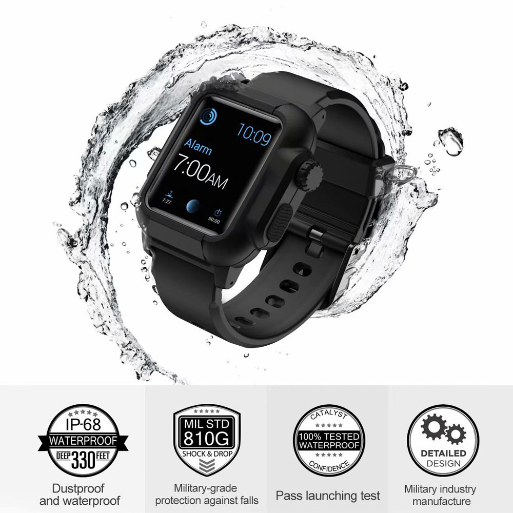 EIMO Silicone Band Strap For Apple Watch Case 42mm Sport Iwatch Series 3 2 1 Wrist watchbands+Waterproof Protective Cover elastic wrist belt silicone protective case for gopro hero3 3 wi fi remote control blue