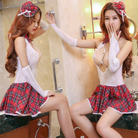 Leechee Y002 Women Sexy Lingerie Role Play Student Uniform Hat Tie Dress Gloves Hollow Out Babydoll