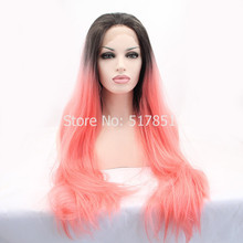 SF2  Custume Party Wig Heat Resistant Hair Wig Fashion Ombre Black Pink  Straight Synthetic Lace Front Wig