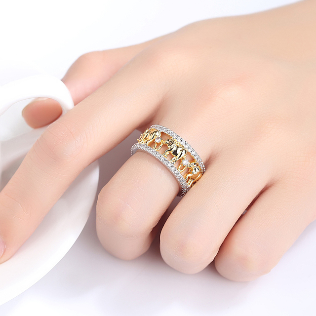 2020 charm silver ring gold elephant ring cubic zirconia crystal ring men and women marriage engagement ring birthday gift