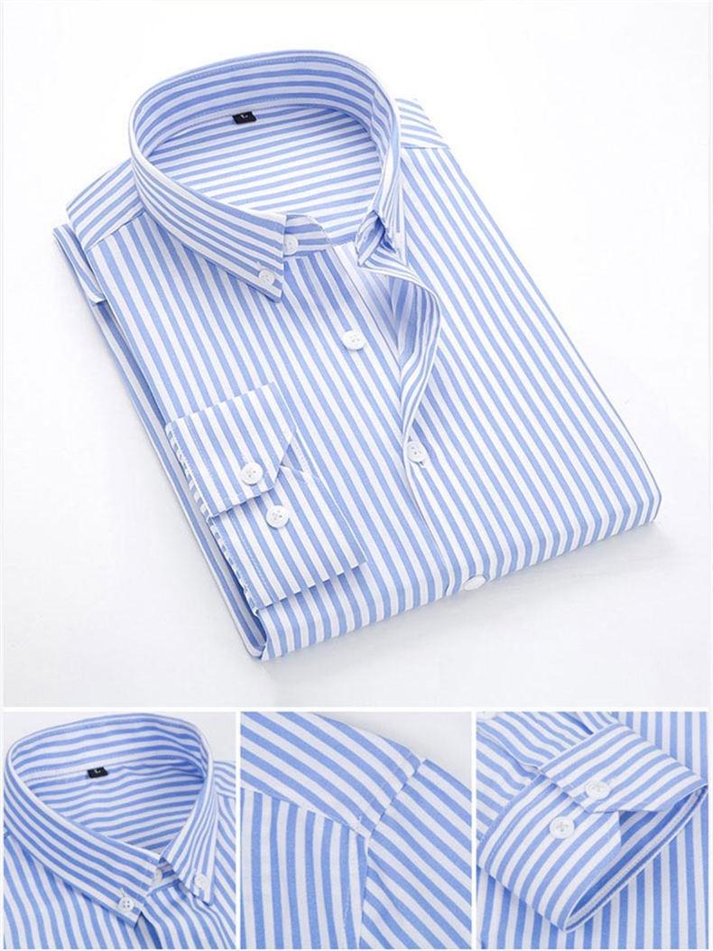 5XL Plus Large Size Striped Shirts Men Long Sleeve Casual Autumn Spring Classic Male Shirts Non-Iron Dress Shirts Man Muls Brand 6