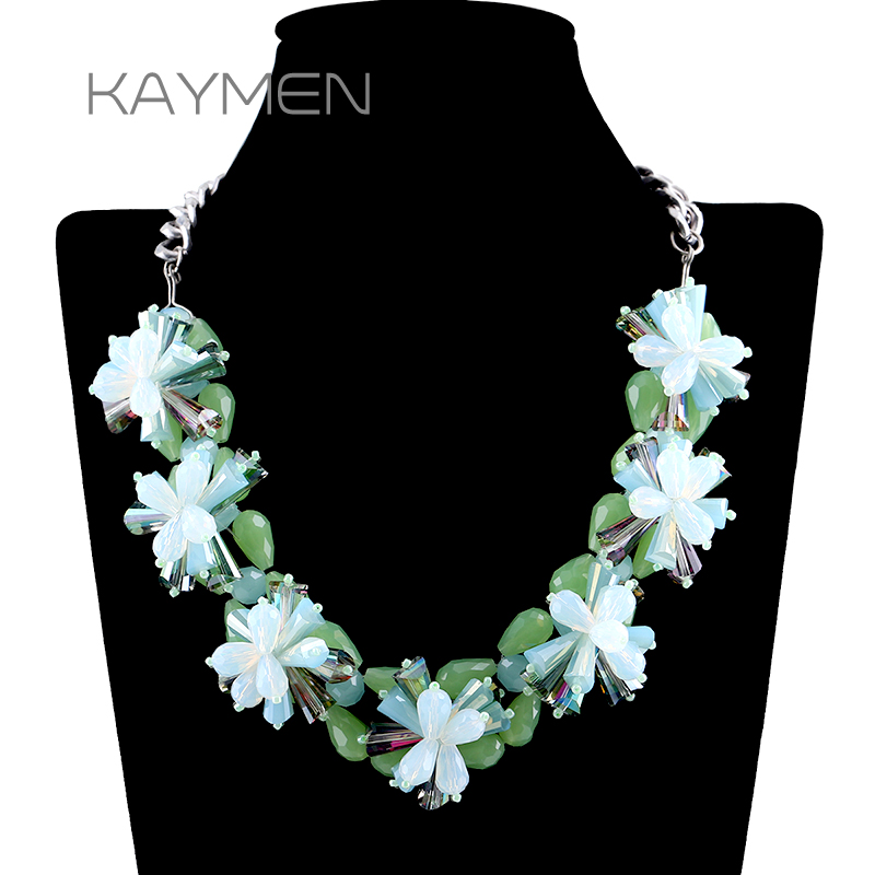 KAYMEN New Fashion Green Crystals Weaving Flowers Statement Necklace by Pure Handmade Vintage Necklace Girl's Crystal Necklace