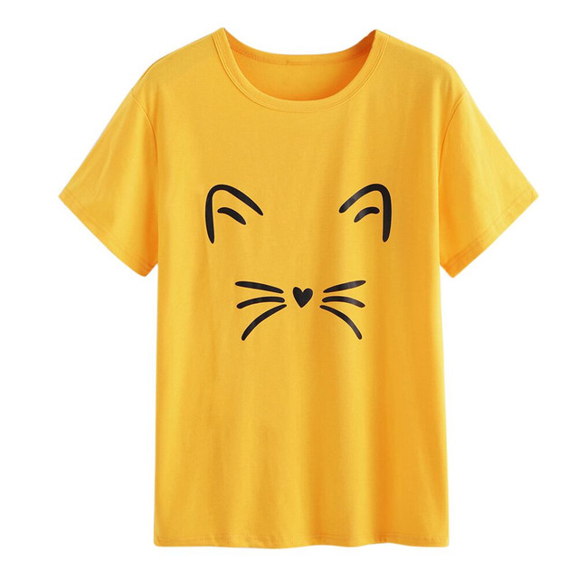 brixini.com - Kitty Face Summer Tees