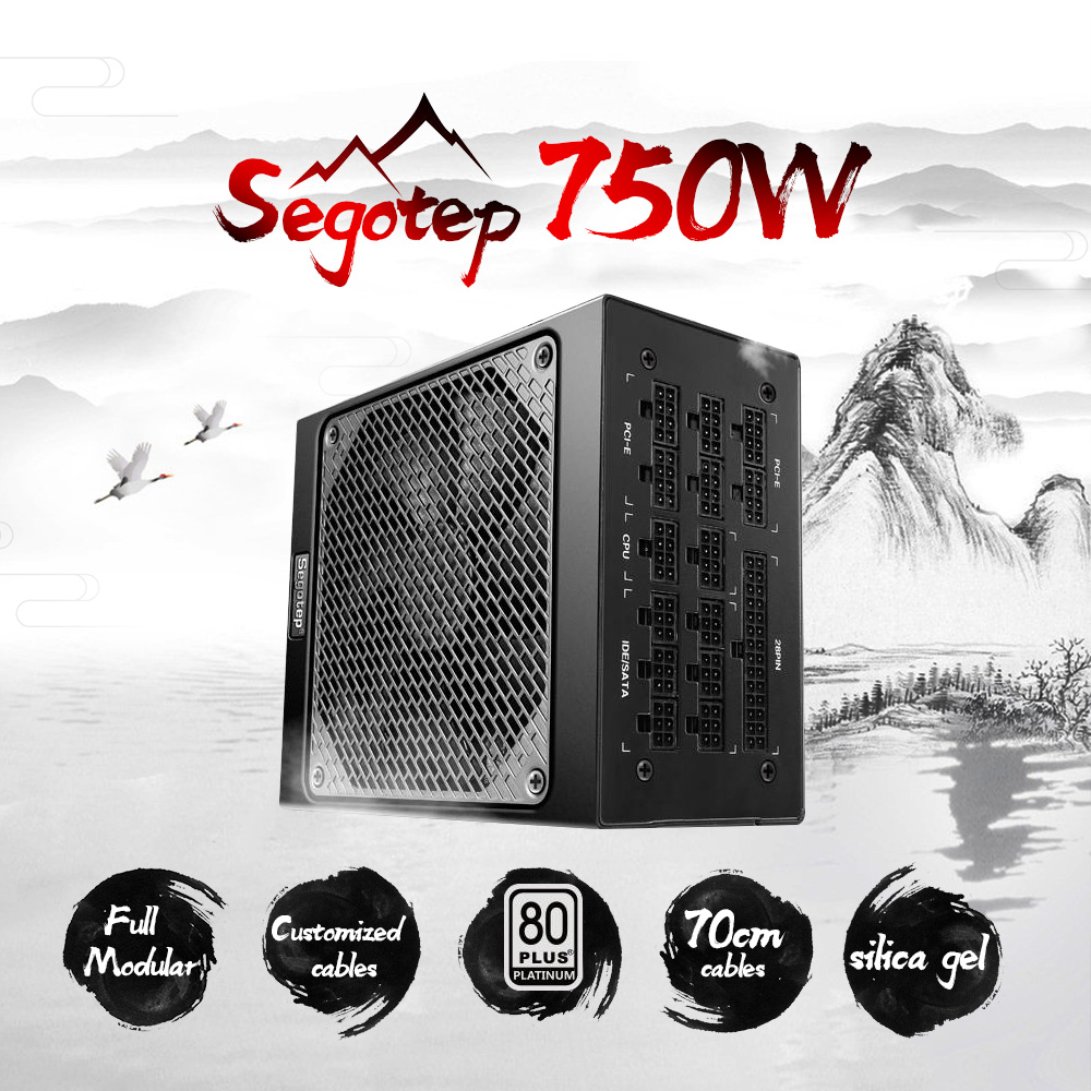 Segotep Gaming 80 Plus Platinum KL-750W Power Supply With Low Noise Fan and Auto Fan Speed Control Full modular 94% efficiency full module abee er 2750a rated 750w dual fan 8cm desktop stable silent power
