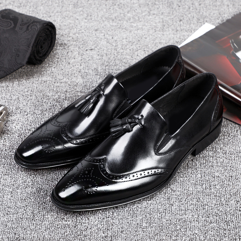 Italian Designer Brogue Shoes For Men Oxford Genuine Leather Shoe Formal Quality Crocodile Pattern Tassel Dress Shoe in Formal Shoes from Shoes