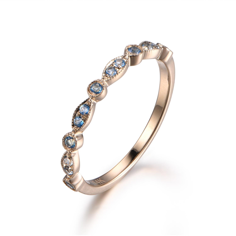 Myray Wedding Bands Blue Topaz Engagement Ring Ring Milgrain Art Deco  Diamond Wedding Ring In 14k White Gold Half Eternity Band