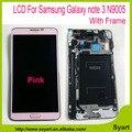 Cor rosa em estoque tela de lcd para samsung galaxy note 3 lcd n9005 display lcd + touch screen digitador assembléia + quadro