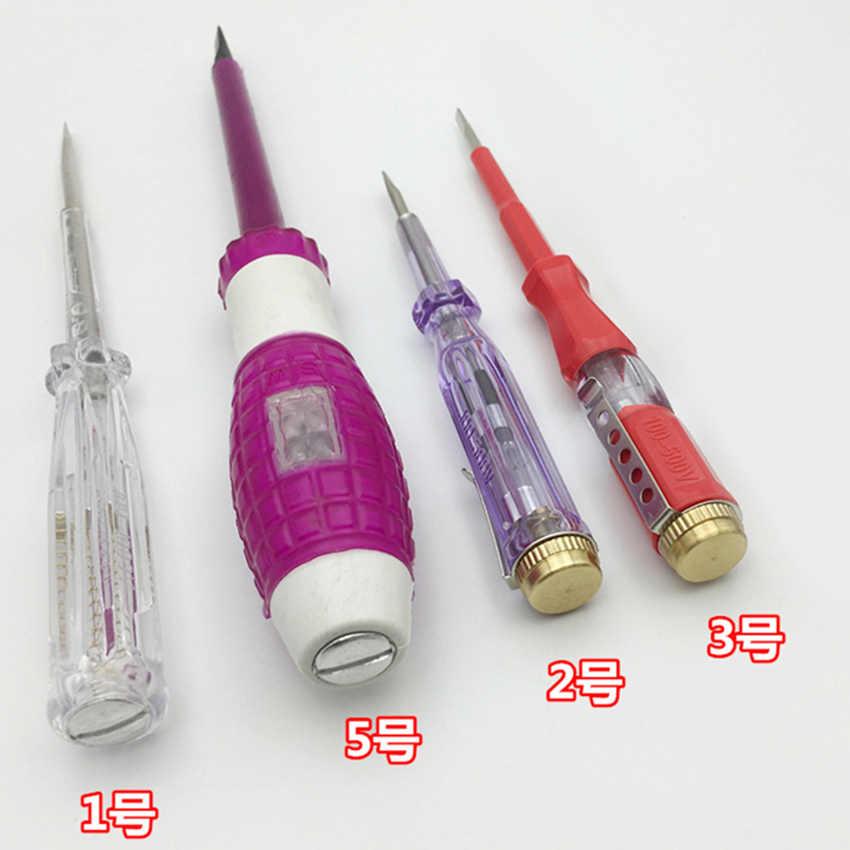 Podwójnego zastosowania śrubokręt płaski długopis testowy cil trwały długopis testowy cil elektryczny Tester wielofunkcyjny elektryk długopis testowy narzędzie 5 typ